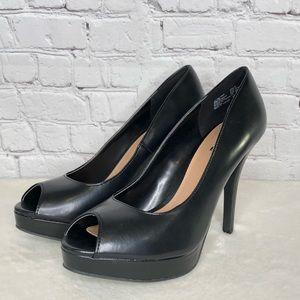 Brash Black Platform Peeptoe Heels Size 9